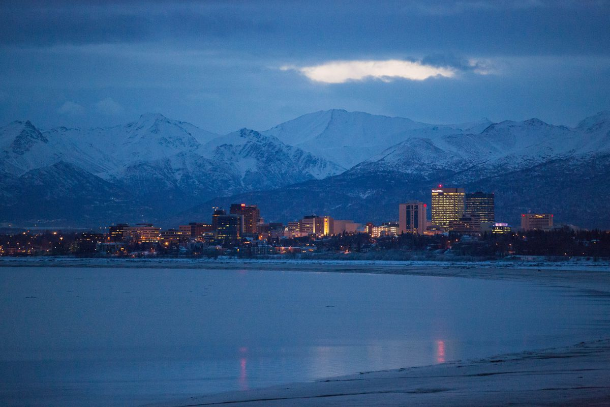 Downtown Anchorage, viewed from Earthquake Park on Wednesday, March 16, 2016.