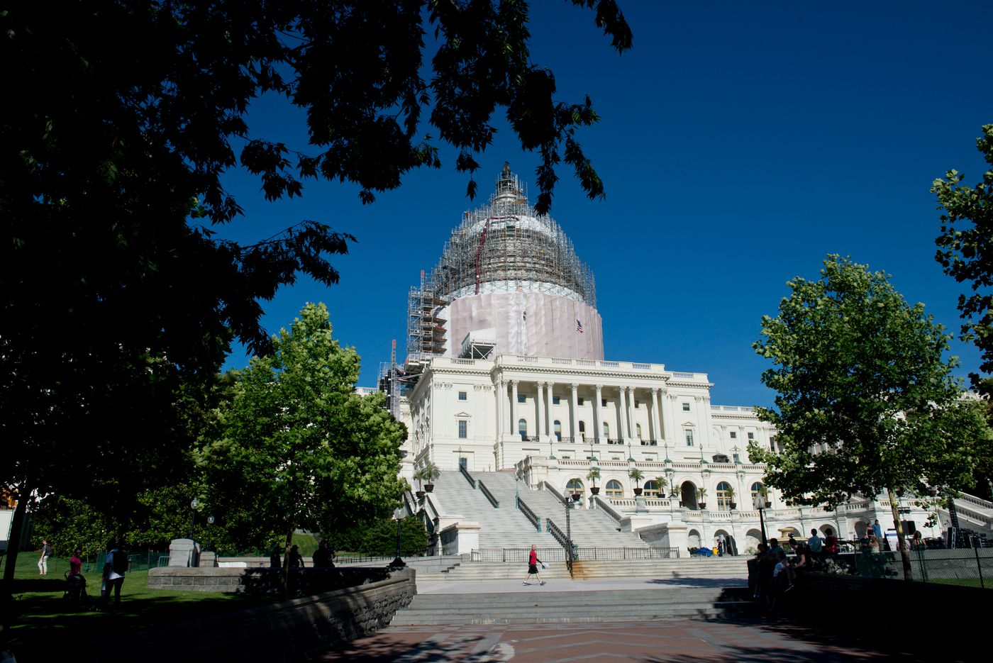 The United States Capitol, which opened in 1800, is undergoing restoration on its dome. Photographed on Wednesday, June 24, 2015. (Marc Lester/Alaska Dispatch News)
