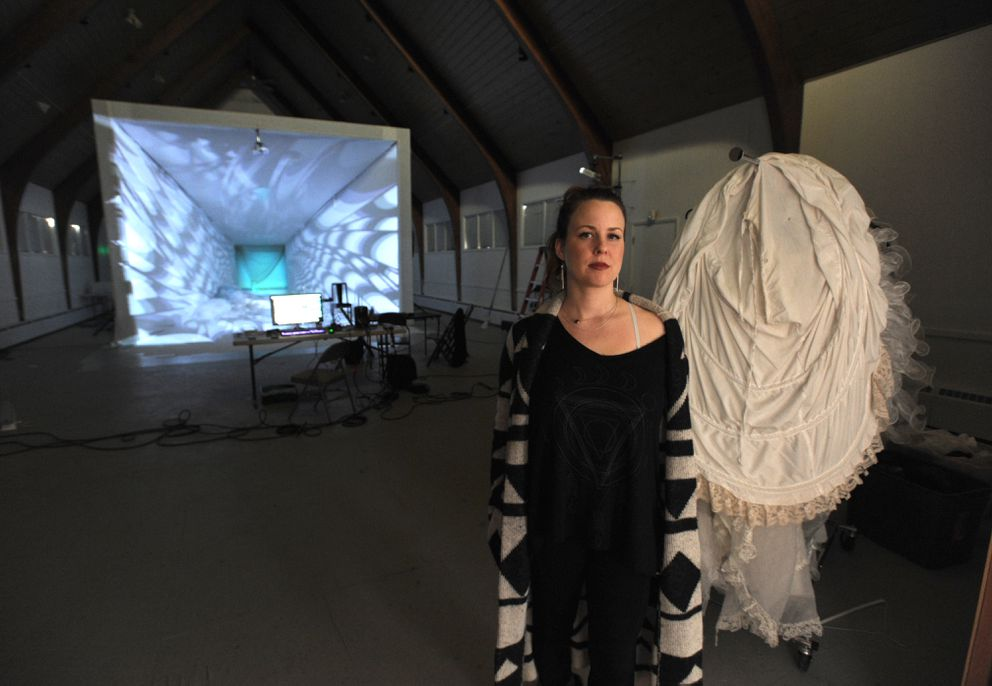 Ruby Jones and her collaborators have created a projection mapped set for the show Pearl in the Church of Love in Spenard. (Erik Hill / Alaska Dispatch News)