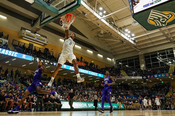 Baylor's Mark Vital dunks the ball during a game against Washington in the Armed Forces Classic Friday, Nov. 8, 2019 at the Alaska Airlines Center in Anchorage. (Loren Holmes / ADN)