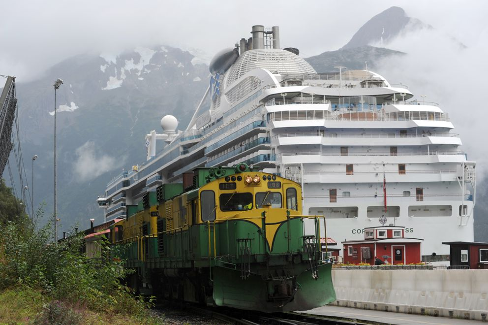 The White Pass Railroad train returns to the rail yard after dropping off cruise ship passengers alongside the Coral Princess in Skagway on Sunday, Aug. 23, 2015. (Anne Raup / ADN archive)