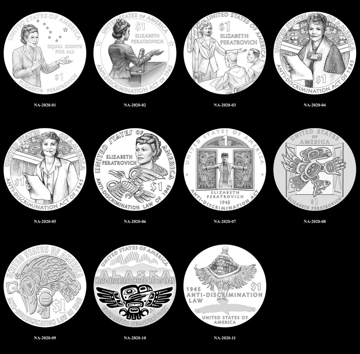 Designs being considered for a 2020 $1 coin honoring Elizabeth Peratrovich (Office of Gov. Bill Walker)