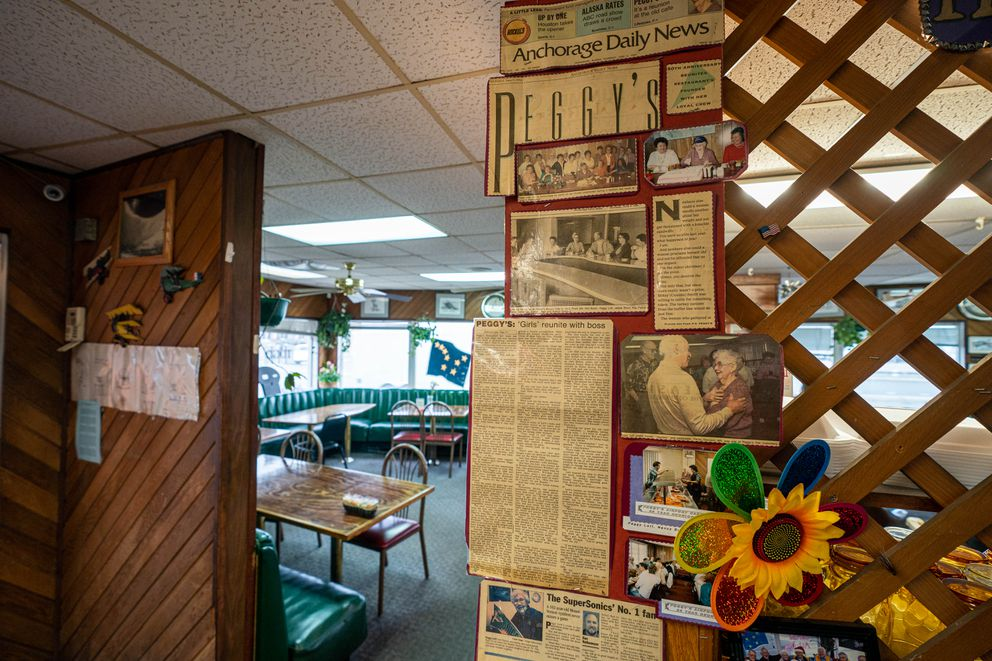 A newspaper clipping from 1994 is displayed at Peggy's Restaurant on Thursday, April 29, 2021 in Anchorage. Peggy Lott opened the restaurant in 1945. (Loren Holmes / ADN)