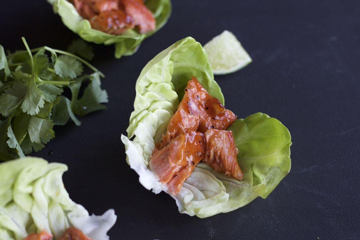 Honey Sriracha salmon lettuce wraps (Maya Wilson / Alaska from Scratch)