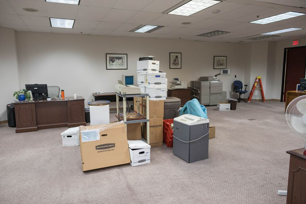 Boxes are still being moved into the Legislature's new offices in Anchorage on Tuesday, Oct. 11, 2016. (Loren Holmes / Alaska Dispatch News)
