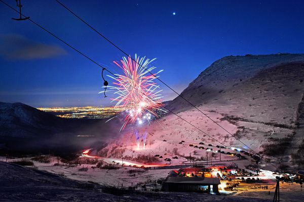 A brilliant fireworks display lights up the Arctic Valley ski area on Saturday, Feb. 11, 2017, during the 80th birthday celebration for the Anchorage Ski Club. (Photo by Daryl Pederson)