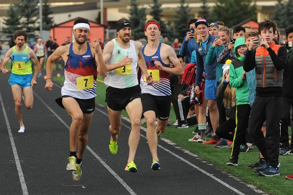 Kyle Merber, #7, finished first, Ben Blankenship #3, finished 2nd and Colby Alexander #1 finished 3rd in The Great Alaska Mile Series at West High in Anchorage, Alaska on Wednesday, Sept. 13, 2017. Merber and Blankenship broke the 4-minute mile and Alexander just missed it. (Bob Hallinen / Alaska Dispatch News)