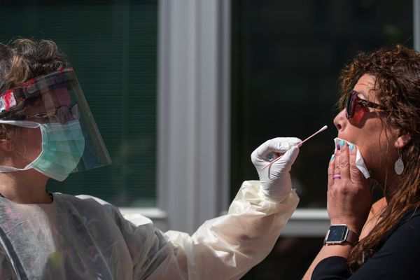 Valerie Murphy takes a nasal swab sample from Shirley Young at the Alaska Native Medical Center's COVID-19 walk-up testing site on Thursday, June 4, 2020. Young is a public relations manager with the Alaska Native Tribal Health Consortium, which runs the medical center in partnership with Southcentral Foundation, and ANTHC and SCF encourage their patients, employees, and any members of an employee's household to be tested every seven days even if they have no symptoms. (Loren Holmes / ADN)