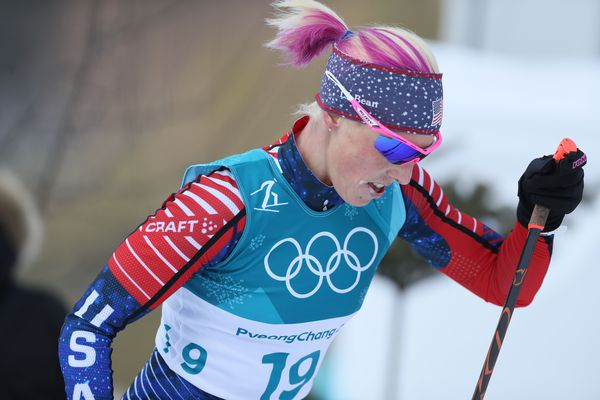 Kikkan Randall competes in the cross country skiing 2 x 7.5 km double pursuit during the Pyeongchang 2018 Olympic Winter Games on Feb. 10, 2018, at Alpensia Cross-Country Centre. (Soobum Im / USA TODAY Sports)