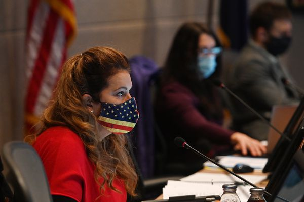 Assemblywoman Jamie Allard listens to public testimony during the Anchorage Assembly meeting on Tuesday, Oct. 13, 2020. (Bill Roth / ADN)