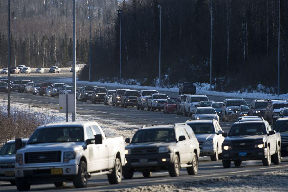 Traffic was backed up on Eagle River Loop Road after the Glenn Highway was closed to inbound vehicles Thursday morning. (Marc Lester / ADN)