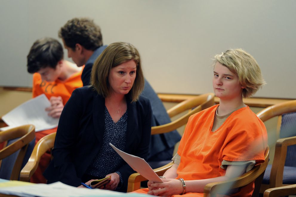 Kayden McIntosh, 16, left, and Denali Brehmer, 18, appeared in a Superior courtroom for their arraignments in the Nesbett Courthouse on Tuesday, June 18, 2019. They have been indicted on murder in the first-degree in the shooting death of 19-year-old Cynthia Hoffman at Thunderbird Falls. (Bill Roth / ADN)