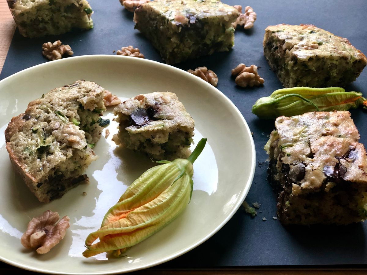 Walnut zucchini chocolate chip snacking cake (Photo by Kim Sunée)
