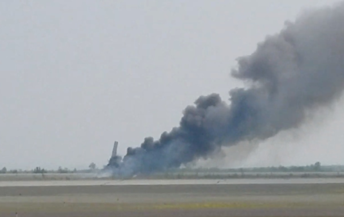 A plane operated by Grant Aviation crashed on landing at Bethel's airport Monday afternoon, July 8, 2019, but the pilot and all five passengers escaped the fiery wreckage. (Screen grab via YouTube)