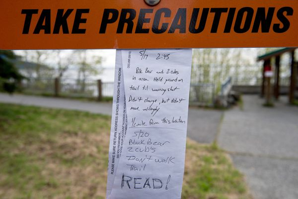 Two bear warnings are posted at the Potter Trailhead end of the Turnagain Arm Trail on May 21, 2018. (Marc Lester / ADN)