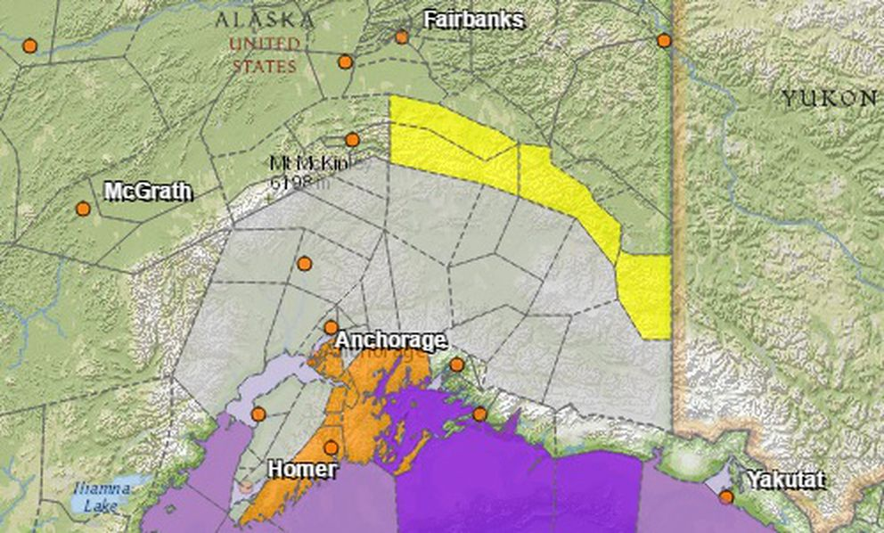The National Weather Service issueda high wind watch (in orange) effective overnight Wednesday, a special weather statement for warming temperatures over the next two days (orange and white areas) and a high wind advisory (in yellow) along the eastern Alaska Range.