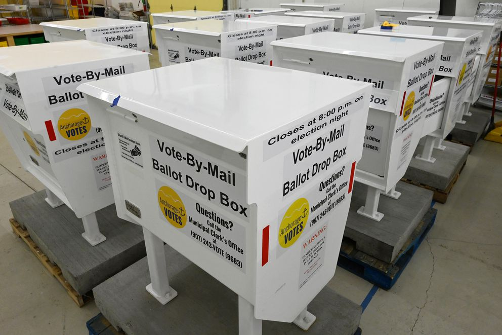 Vote-by-mail ballot drop boxes stored at the Municipality of Anchorage Election Center on Monday, March 3, 2021. (Bill Roth / ADN)