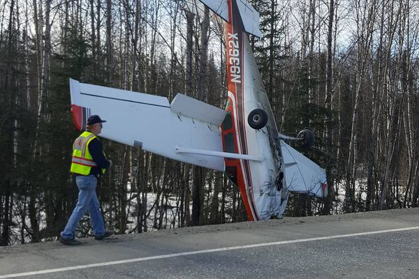 A plane attempting an emergency landing on the Parks Highway snagged on power lines and came to rest nose down on April 15, 2017. The pilot sustained minor injuries in the crash. (Katie Terstegge Dietrich photo)