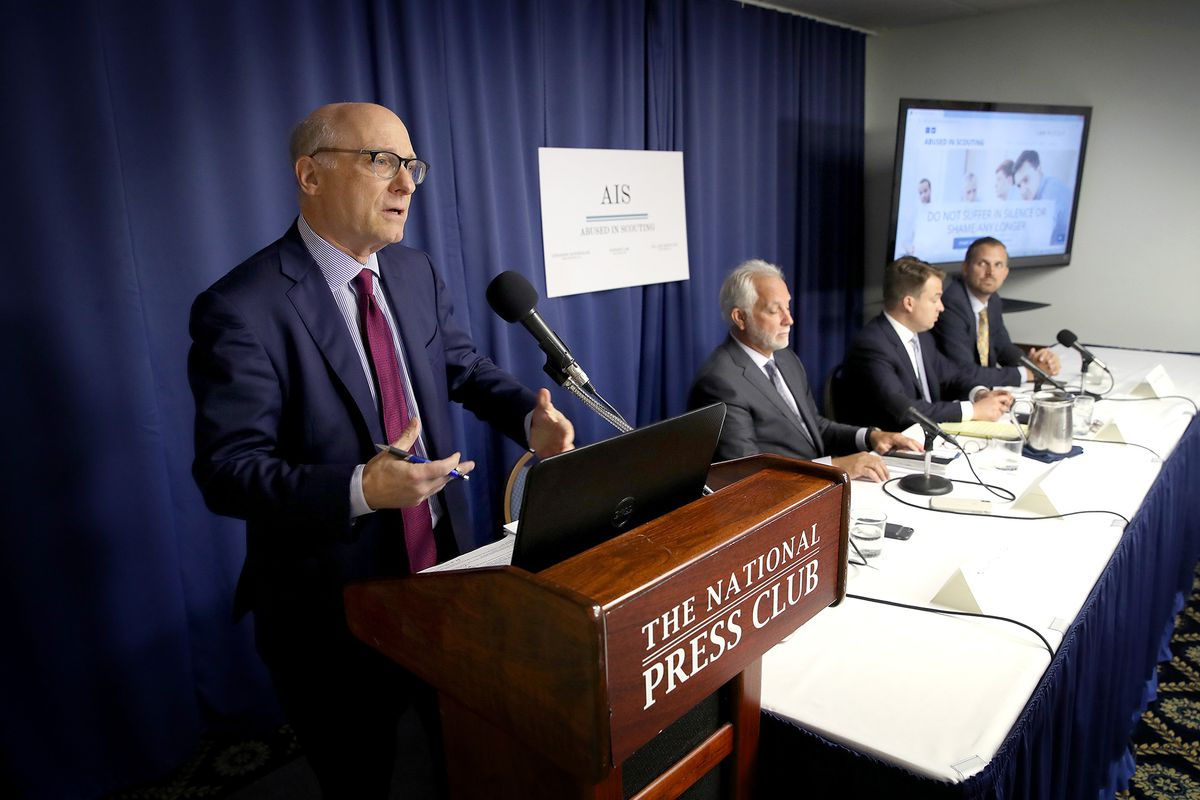 Attorney Stewart Eisenberg, left, speaks during a press conference held by the Abused in Scouting legal team Aug. 6, 2019 in Washington, D.C. The group of lawyers has claimed to have uncovered hundreds of unreported sexual abuse cases in the Boy Scouts of America organization, and filed a lawsuit Monday in Pennsylvania. Also pictured, from left, are attorneys Tim Kosnoff, Josh Schwartz, and Andrew Van Arsdale. (Win McNamee/Getty Images/TNS)