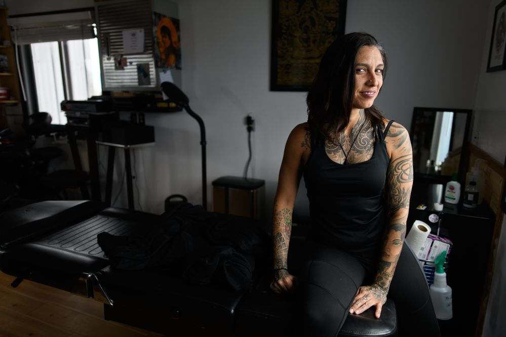 Tattoo artist Rachel Gonzalez owns Exotic Eye Tattoo on the Homer Spit. She divides her time between Homer and Maui, Hawaii, where she also owns a tattoo studio. Photographed on June 20, 2018.(Marc Lester / ADN)