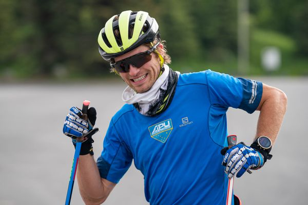 David Norris rollerskis with the Alaska Pacific University ski team during a 50-kilometer training session on Wednesday, June 10, 2020 at Kincaid Park in Anchorage. (Loren Holmes / ADN)