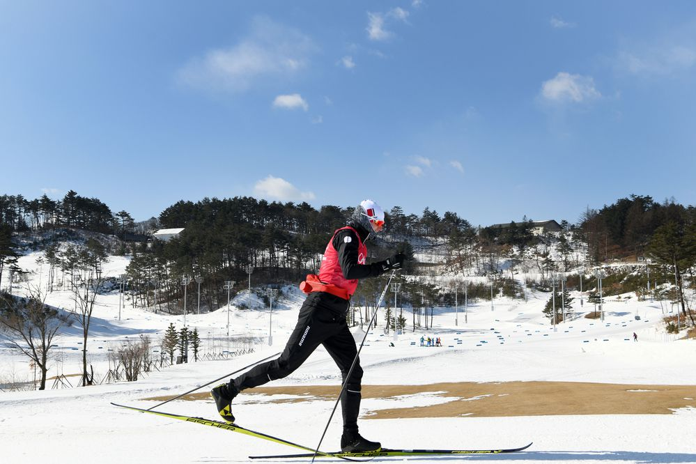 Cross-country skier Martin Moeller of Denmark practices at the Alpensia Cross-Country Centre in Pyeongchang, South Korea, on Sunday, Feb. 11, 2018. Moeller says that he eats so much as part of his training regimen he gets tired of it. (James Hill/The New York Times)