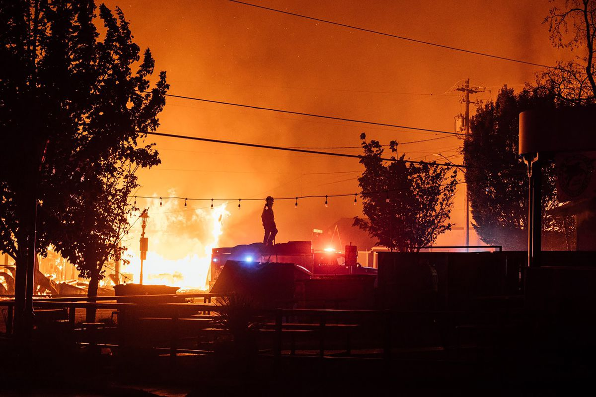 This photo taken by Talent, Ore., resident Kevin Jantzer shows the destruction of his hometown as wildfires ravaged the central Oregon town near Medford late Tuesday, Sept. 8, 2020. (Kevin Jantzer via AP)