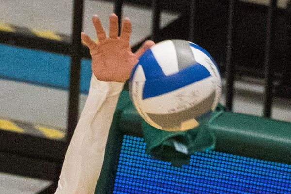 UAA's Vanessa Boyer spikes the ball during a season-opening game against the Western New Mexico Mustangs Thursday, Aug. 23, 2018 at the Alaska Airlines Center. (Loren Holmes / ADN)