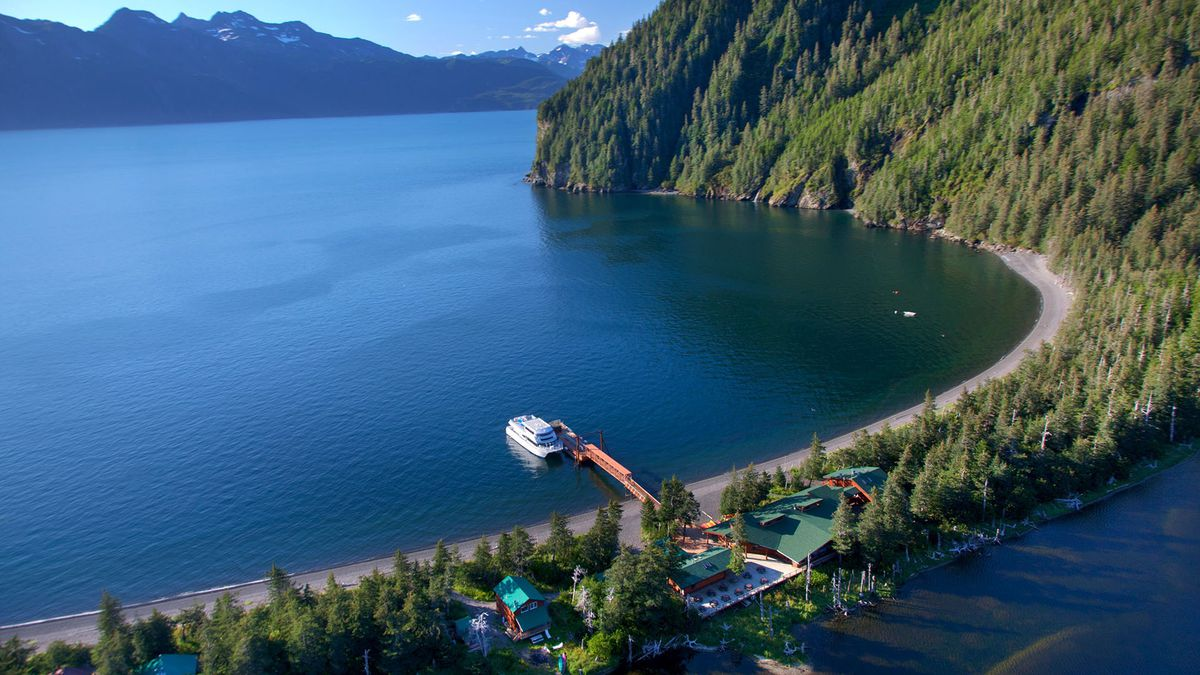 A Kenai Fjords Tours boat is tied up at the dock at Fox Island, home of the Kenai Fjords Wilderness Lodge. (Photo courtesy Kenai Fjords Wilderness Lodge)