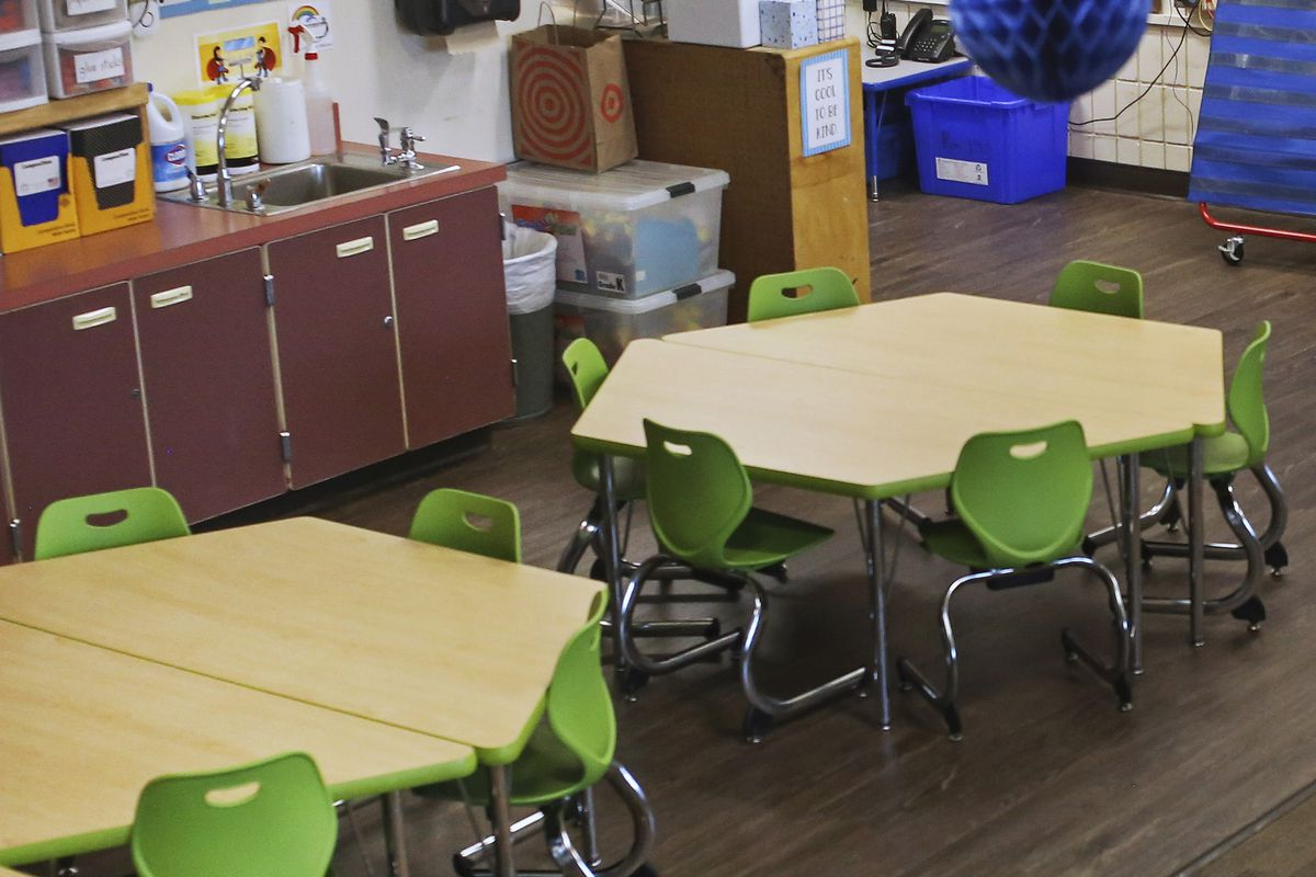 An empty classroom at Northwood Elementary School in Anchorage on Aug. 25, 2020. (Emily Mesner / ADN)