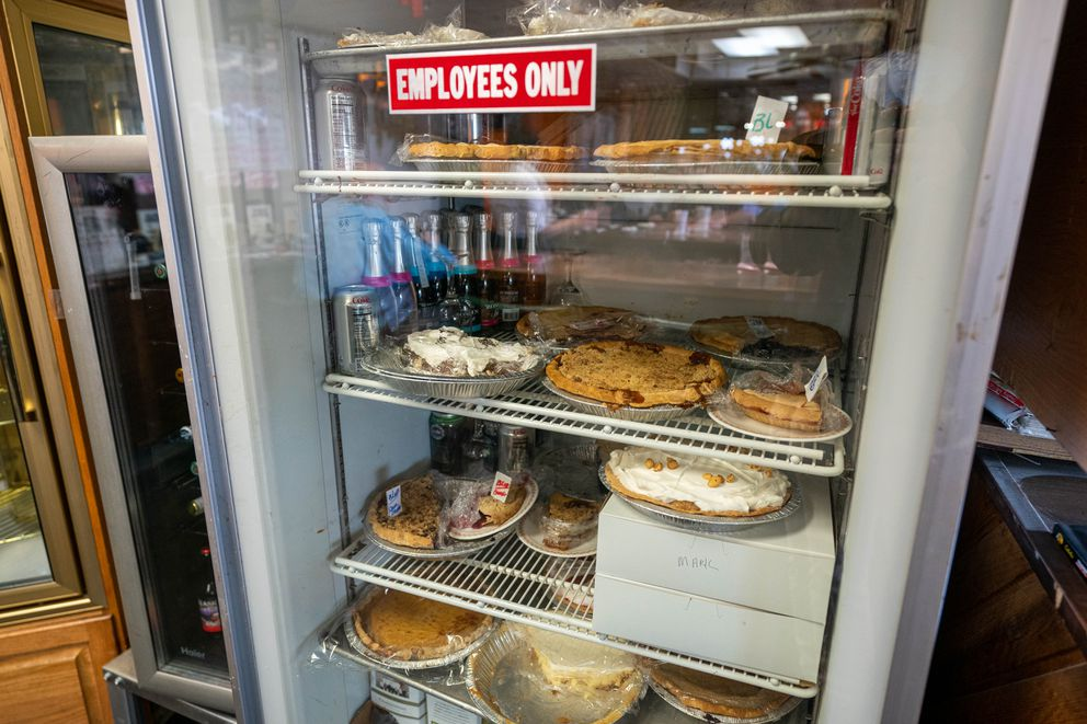 Pies rest in a cooler at Peggy's Restaurant on Thursday, April 29, 2021 in Anchorage. (Loren Holmes / ADN)
