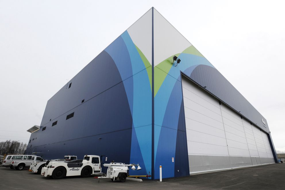 Alaska Airlines officially opened its new Maintenance and Engineering Facility and Hangar at 3600 Old International Airport Road at Ted Stevens Anchorage International Airport on Wednesday, Nov. 7, 2018. (Bill Roth / ADN)