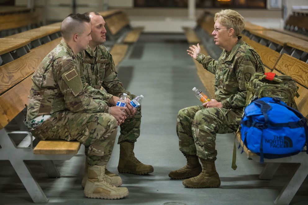 Maj. Gen. Laurie Hummel, right, talks with members of the Alaska Air National Guard 176th Wing before their deployment to the Middle East Tuesday, Sept. 26, 2017. Hummel is the adjutant general of the Alaska National Guard. (Loren Holmes / Alaska Dispatch News)
