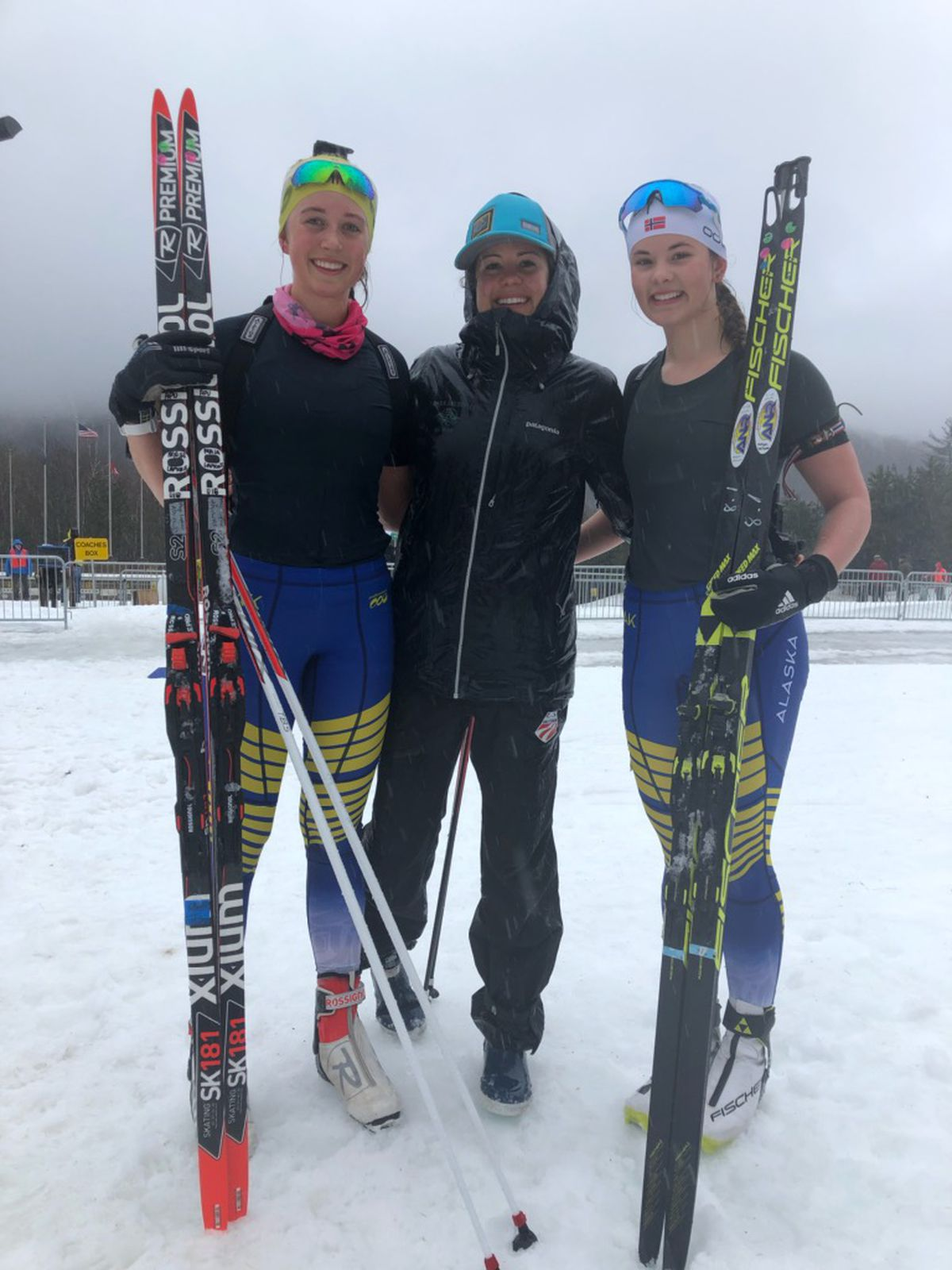 From left, Maja Lapkass, Marine Dusser and Helen Wilson share a moment after Lapkass' victory in the mass-start junior girls race at the U.S. Biathlon Championships late last month in Jericho, Vermont. (Photo courtesy of Marine Dusser).
