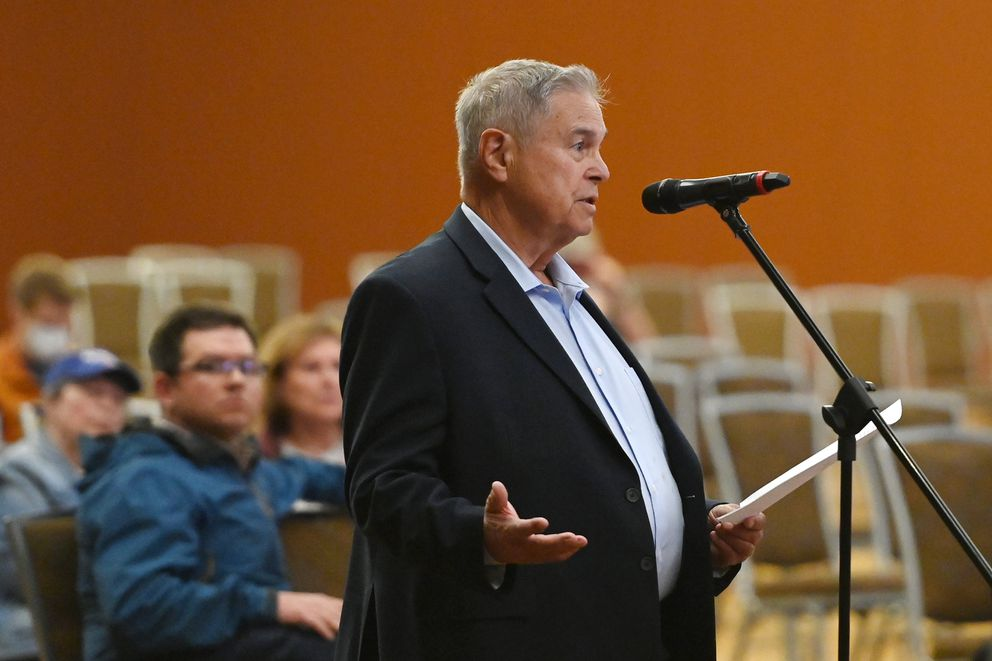 Anchorage Gospel Rescue Mission vice president Ralph Nobrega addresses the Anchorage Assembly during the first of two town hall meetings in the Dena'ina Center on Tuesday, June 1, 2021. (Bill Roth / ADN)