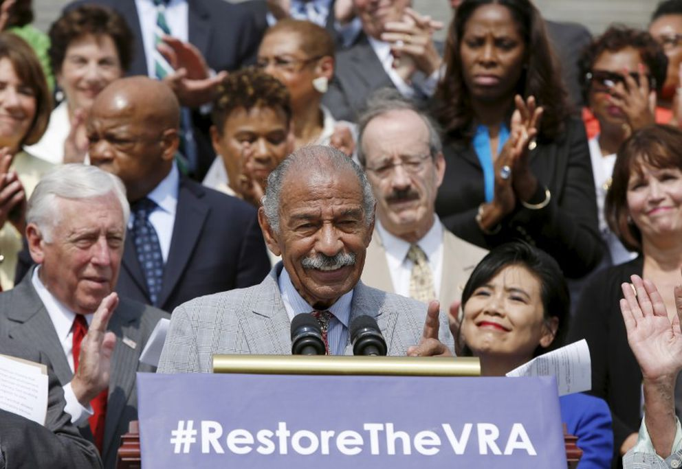 FILE PHOTO: Congressman John Conyers (D-MI) speaks at an event celebrating the 50th anniversary of the Voting Rights Act of 1965 in Washington July 30, 2015. Conyers, the oldest and longest serving member of Congress, voted on the 1965 VRA. REUTERS/Gary Cameron