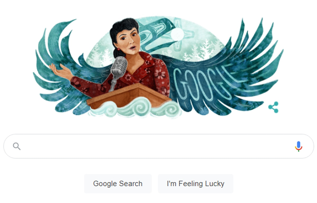 An illustration of Alaska Native civil rights leader Elizabeth Peratrovich created by Tlingit artist Michaela Goade of Sitka is the featured Google Doodle on Wednesday. (Screengrab)