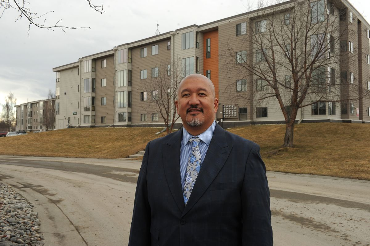 Greg Cerbana, vice president of public relations for Weidner Apartments Homes, poses for a portrait at Alpine Apartments in South Anchorage. (Bob Hallinen / ADN)