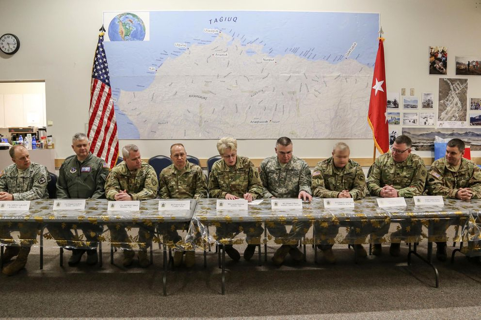 Maj. Gen. Laurie Hummel, the adjutant general, Alaska National Guard, signs the National Guard Arctic Interest Council charter symbolizing a pledge for support to the council at the Inupiat Heritage Center in Utqiagvik. (Staff Sgt. Balinda O'Neal Dresel / U.S. Army National Guard)