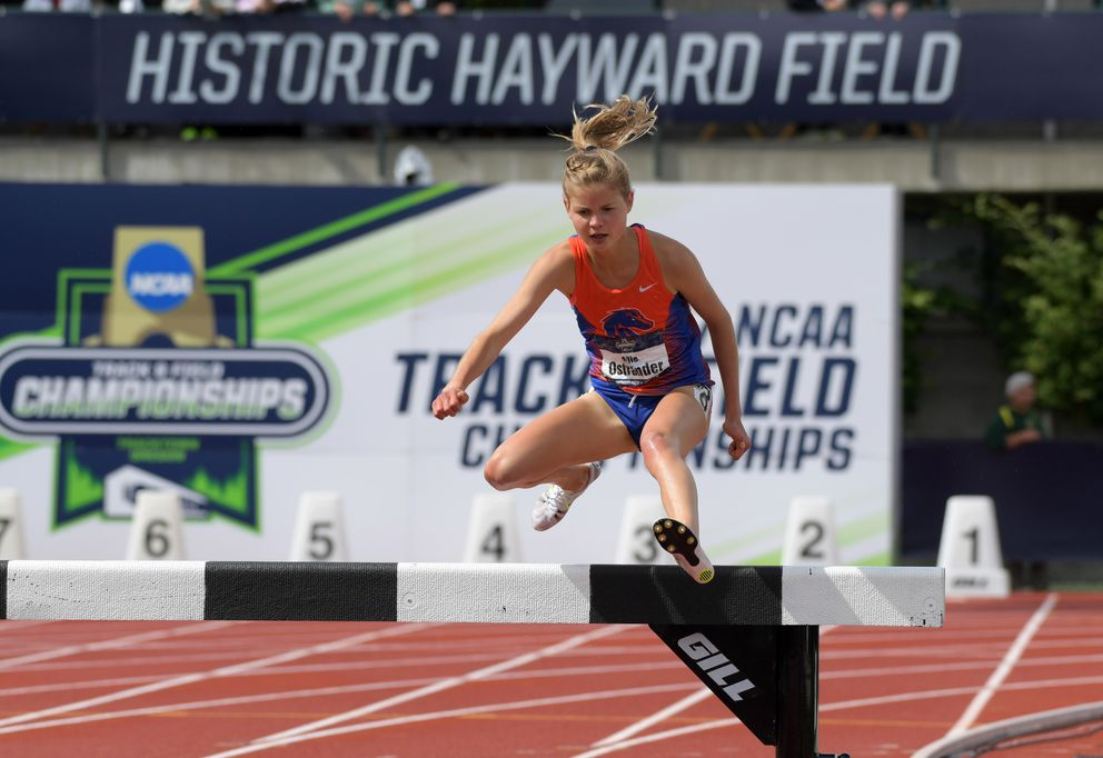 Boise State's Allie Ostrander of Soldotna wins the women's steeplechase in 9:41.31 during the NCAA Track and Field Championships on Saturday at Hayward Field in Eugene, Oregon.