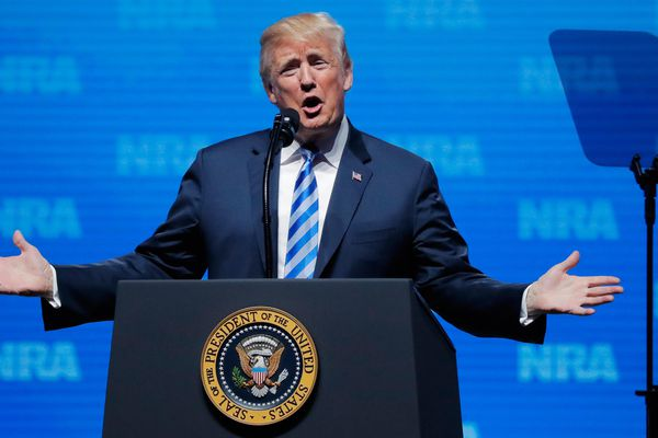 U.S. President Donald Trump gestures before he speaks at a National Rifle Association (NRA) convention in Dallas, Texas, U.S. May 4, 2018. REUTERS/Lucas Jackson