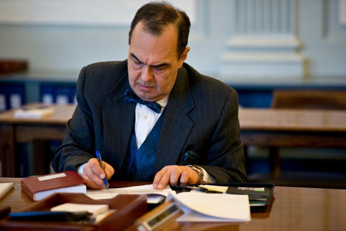 Sen. Donny Olson, D-Golovin, works during Senate Finance Committee meetinglast week. (Marc Lester / Alaska Dispatch News)