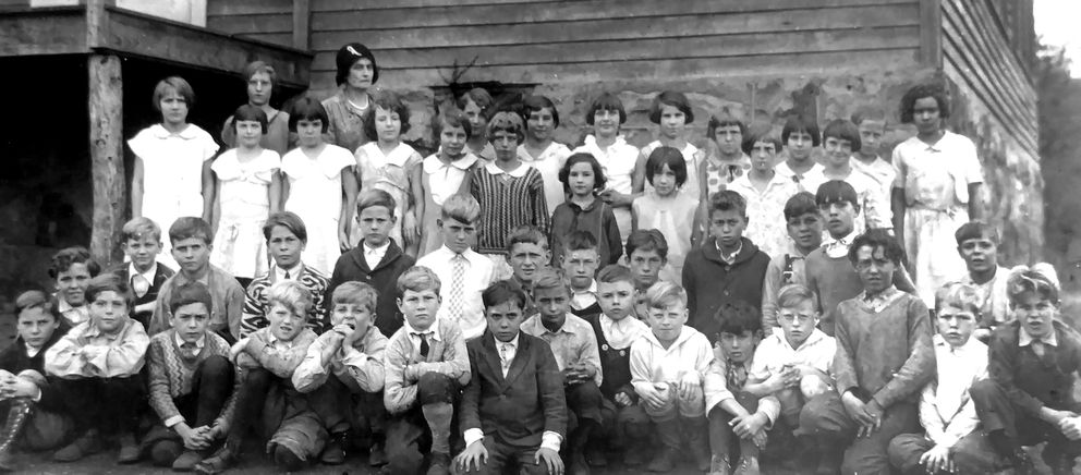 Gladys Ament (third row, fifth from left) with her classmates at Gilmore, the two-room schoolhouse in Lonaconing, Maryland, that she attended while growing up in the 1920s and 1930s. (Ament family photo)