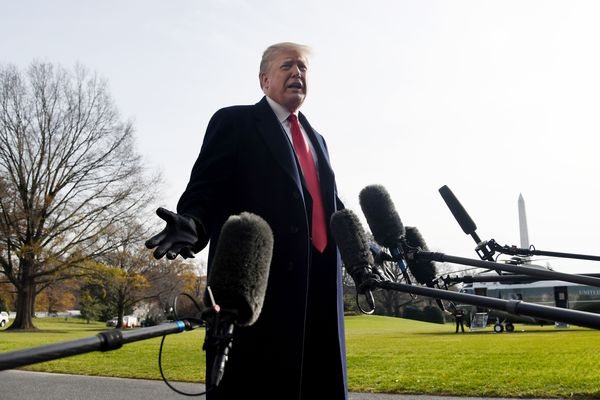 President Donald Trump addresses reporters while departing the White House Dec. 8.