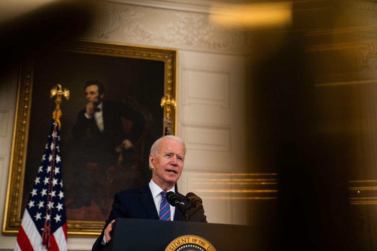 President Joe Biden discusses a jobs report at the White House on Friday, April 2, 2021. Washington Post photo by Demetrius Freeman