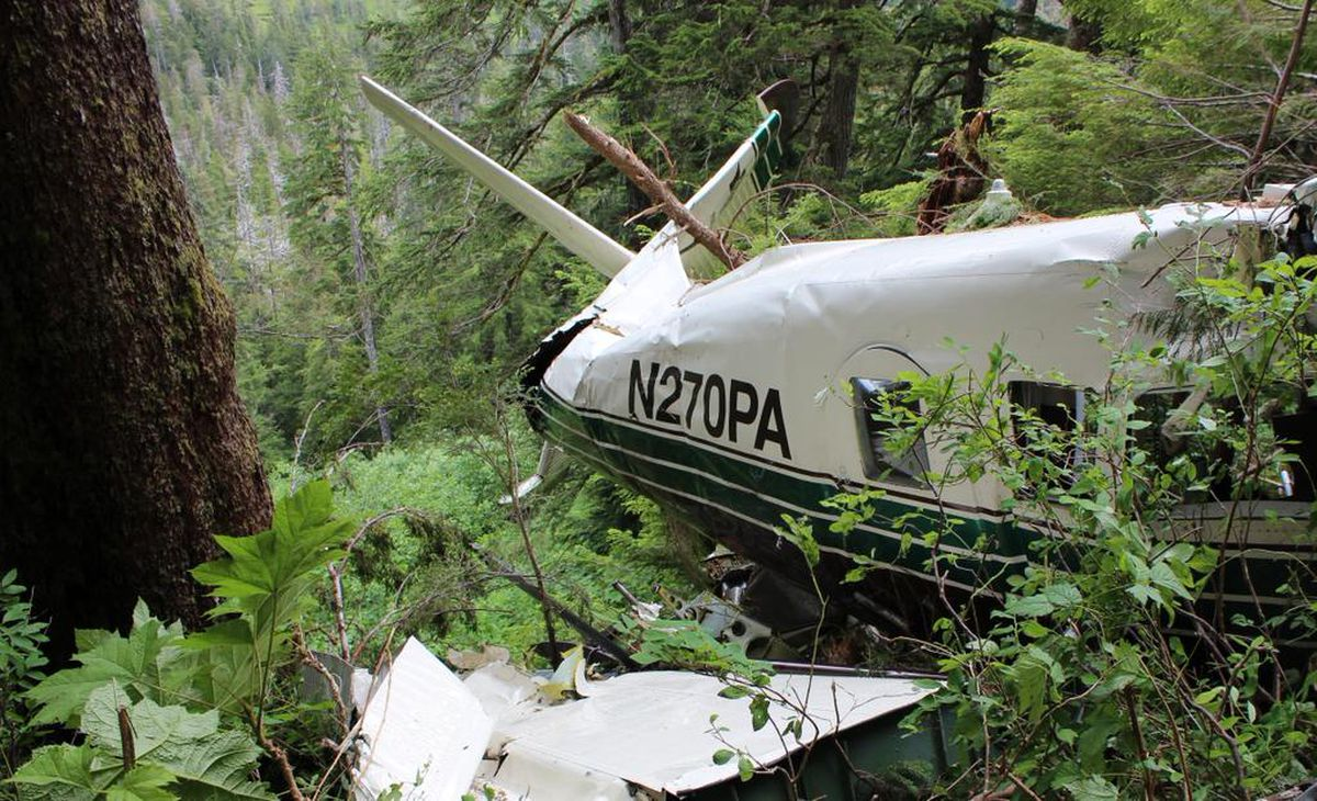 The wreckage of a flightseeing plane operated by Promech Air that crashed near Ketchikan on June 25, 2015. (NTSB photo)