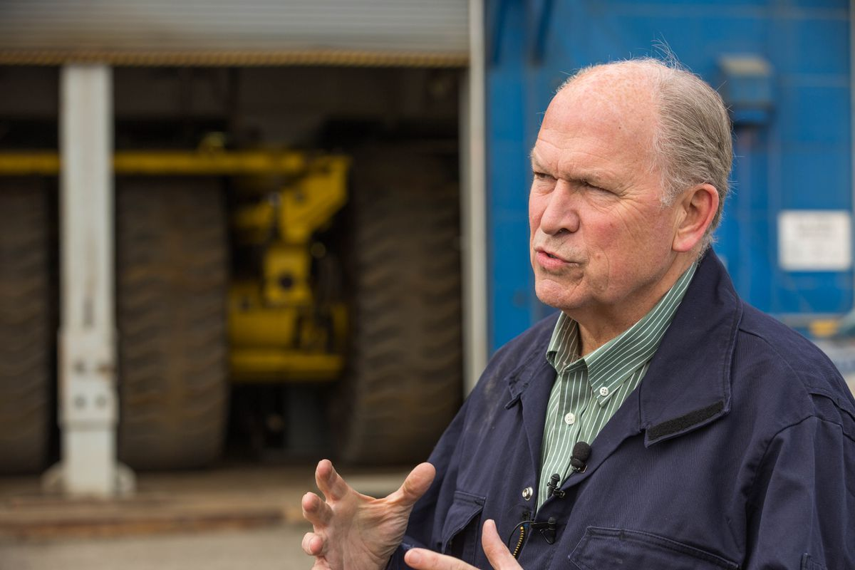 Alaska Governor Bill Walker talks at Prudhoe Bay, May 22, 2015. (Loren Holmes / ADN file)
