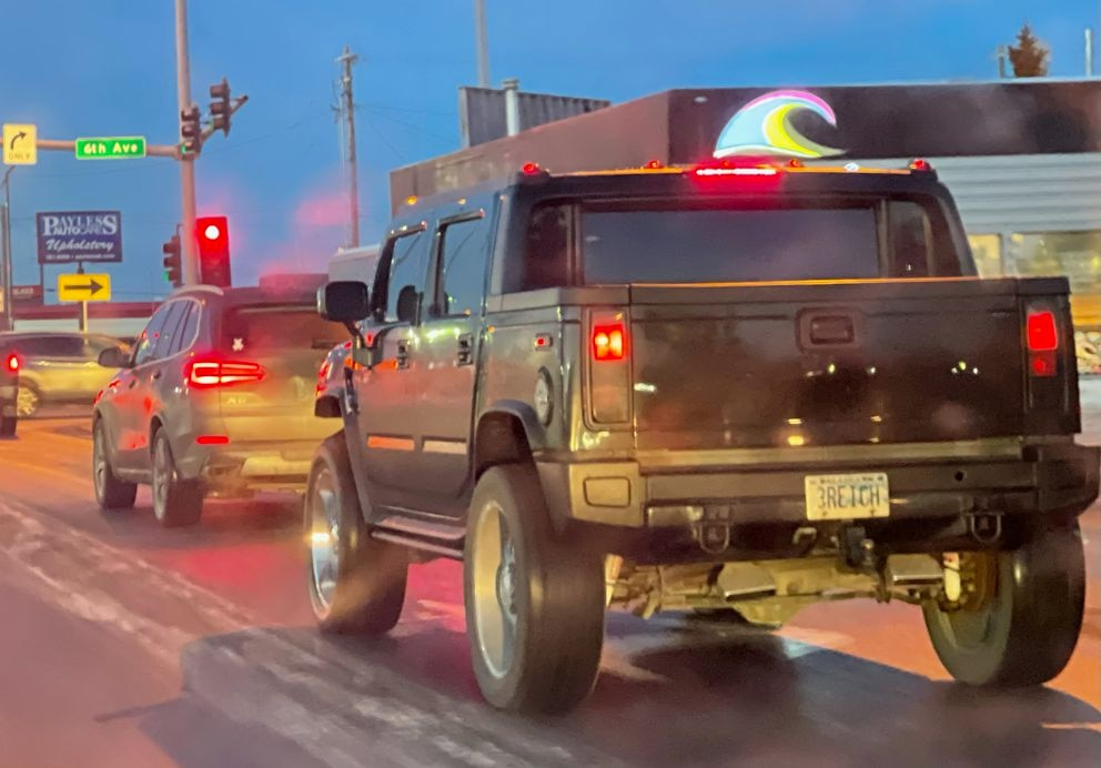 A Hummer with a license plate reading '3REICH ' seen near downtown Anchorage on Friday, Jan. 22, 2021. The DMV has said the personalized license plate was issued but revoked. (Photo by Matt Tunseth)