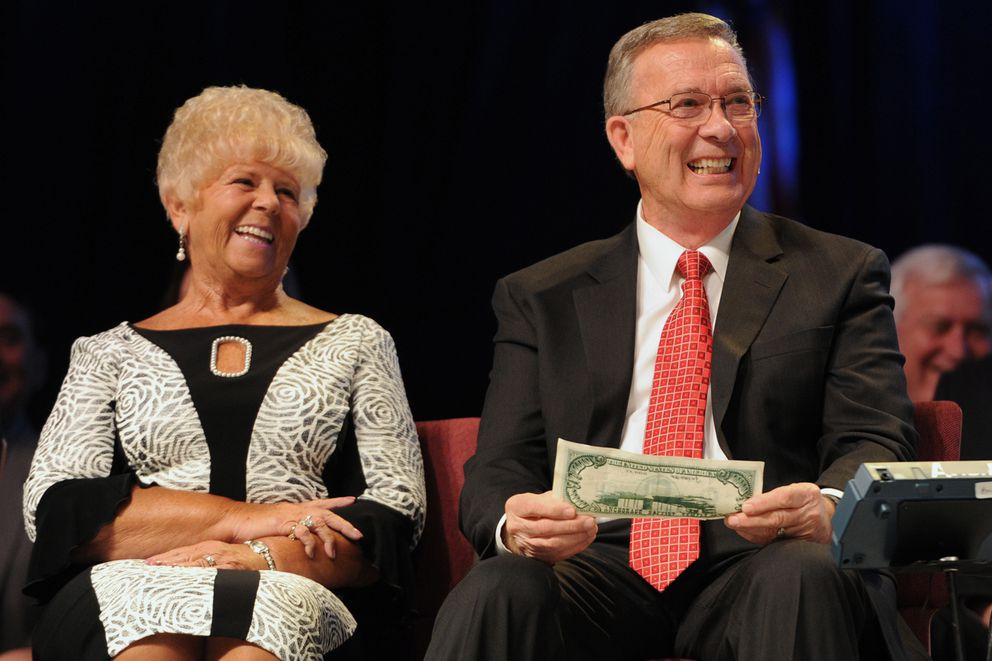 Rev. Jerry Prevo seated with his wife Carol is retiring as pastor of the Anchorage Baptist Temple after more than 47 years of service on Sunday, May 5, 2019. (Bill Roth / ADN) (Bill Roth / ADN)