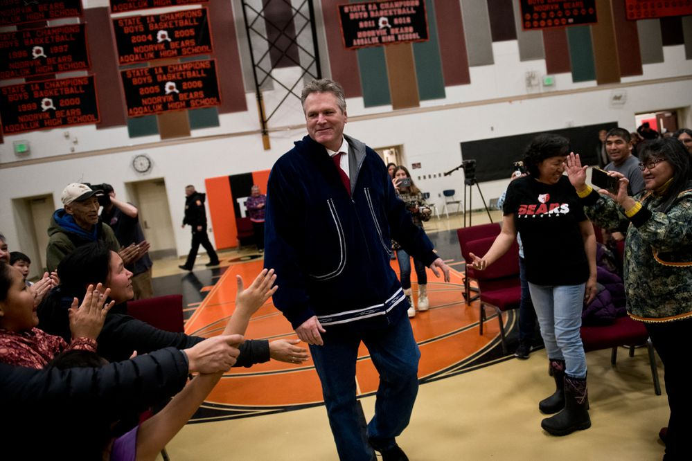 Gov. Mike Dunleavy is greeted at the Noorvik School on December 3, 2018. His inauguration was supposed to happen there, but weather caused his delayed arrival. He was inaugurated in Kotzebue. (Marc Lester / ADN)